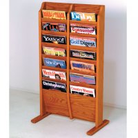 Free Standing 14 Pocket Magazine Rack - Medium Oak