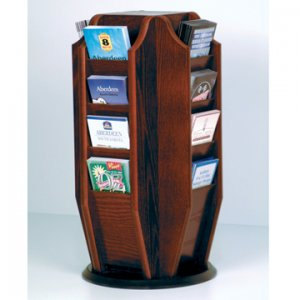 Spinning Countertop Display with 16 Brochure Pockets - Mahogany