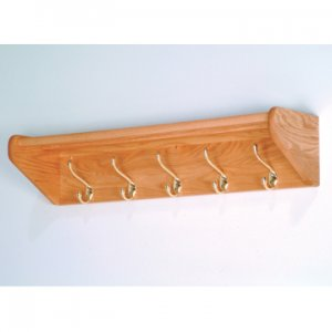 32 Inch Solid Oak Coat & Hat Rack With 5 Brass Hooks - Light Oak