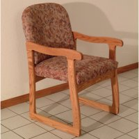Office Waiting Room Guest Chair - Medium Oak - Watercolor Rose