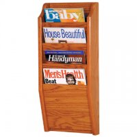 4 Pocket Wall Mount Magazine Rack - Medium Oak
