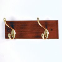 2 Hook Coat Rack with Brass Hooks - Mahogany