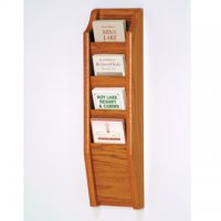 4 Pocket Brochure Rack - Medium Oak