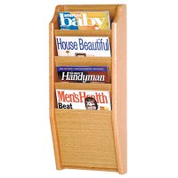 4 Pocket Wooden Wall Mount / Display Magazine or Literature Rack