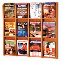 12 Magazine Wall Display - Medium Oak