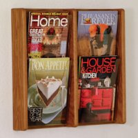 4 Pocket Solid Medium Oak and Acrylic Literature Wall Display Rack