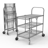 DMD Heavy Duty Three Shelf Wire Collapsible Utility Cart, 300lb Weight Capacity