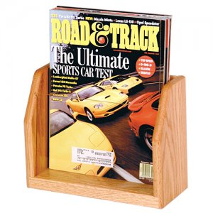 Single Pocket Wooden Countertop and Table Magazine Display Rack