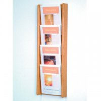 4 Pocket Oak and Acrylic Literature Wall Display Rack - Light Oak