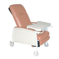 3 Position Patient Room Recliner with Lap Tray / Table - Rosewood