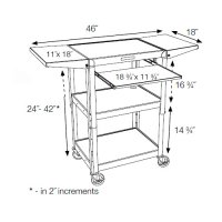Utility Cart, Laptop/Tablet and Keyboard Shelf, Audio Visual AV Storage and Tranport