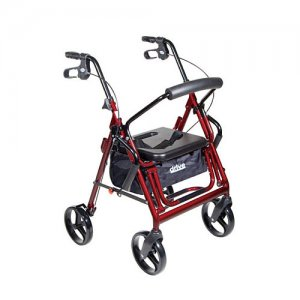 Duet Transport Wheelchair Chair Rollator Walker - Burgundy