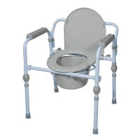 Commode Seat with Commode Bucket and Splash Guard - Folding Bedside