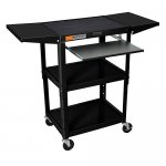 Rolling Adjustable Audio Visual (AV) Cart: Keyboard / Drop Shelves