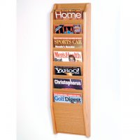 7 Pocket Wall Mount Magazine Rack - Light Oak