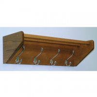 24 Inch Solid Oak Coat and Hat Rack with 4 Nickel Hooks - Medium Oak
