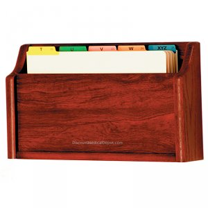 DMD Wood File Holder, Square Bottom, Legal Size Chart Holder, Mahogany Finish