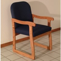 Office Waiting Room Guest Chair - Medium Oak - Arch Blue