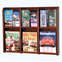 6 Magazine/12 Brochure Wall Display with Brochure Inserts - Mahogany