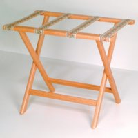Deluxe Straight Leg Luggage Rack in Light Oak - Tapestry Straps