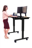 "48"" Electric Standing Desk with Black Frame and Black Oak Desktop"