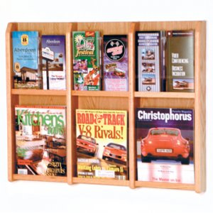 6 Magazine/12 Brochure Wall Display with Brochure Inserts - Light Oak