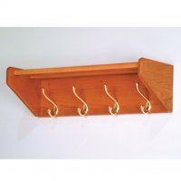 24 Inch Solid Oak Coat and Hat Rack with 4 Brass Hooks - Medium Oak