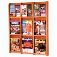 9 Magazine/18 Brochure Wall Display with Brochure Inserts - Medium Oak