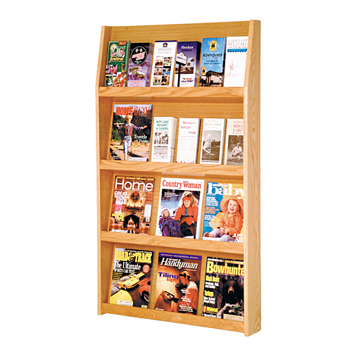 12 Magazine / 24 Brochure Oak Wall Display Literature Rack - Click Image to Close