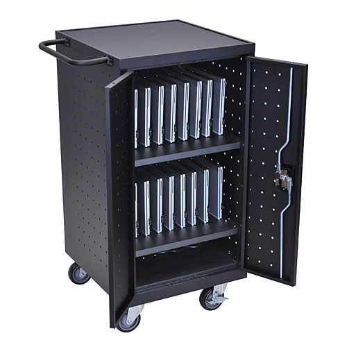 Ipad, Tablet, Laptop and Chromebook Locking Cart with Charging Station , Holds and Charges 18 Devices - Click Image to Close