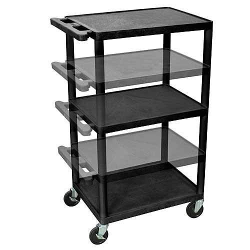 adjustable height inch plastic rolling utility cart 3 shelves u0026 electric