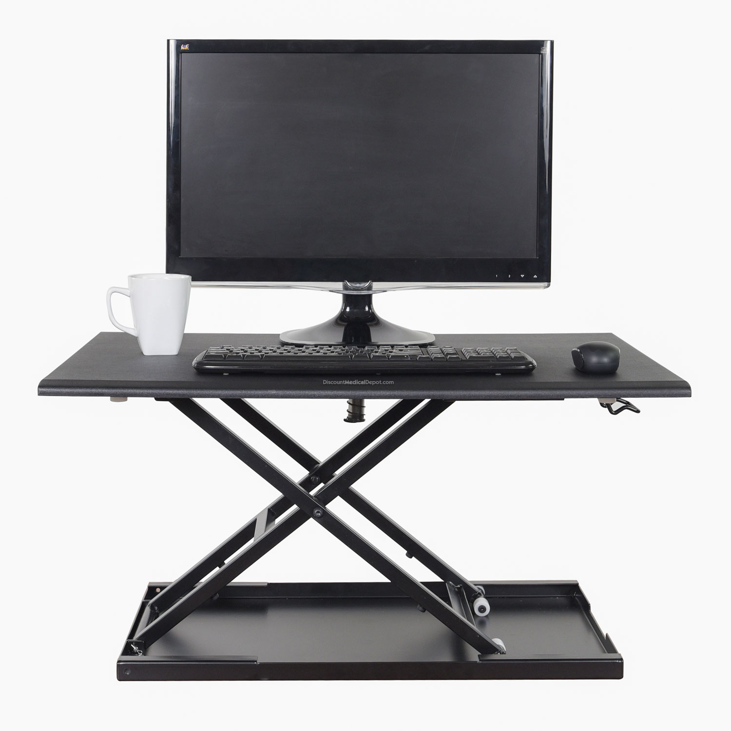 pneumatic adjustable stand up desk converter 32 inch wide converts any surface into a - Standing Desk Converter