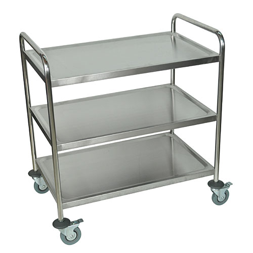 large 3 shelf mobile stainless steel utility cart st3