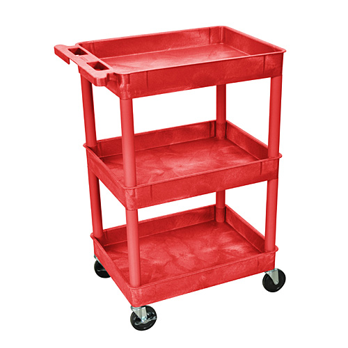 3 Tub Shelf Supply Utility Cart - STC111 - Gray, Blue, Red - Click Image to Close